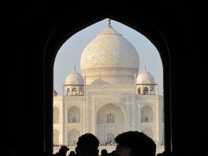 My first glimpse of the Taj Mahal.