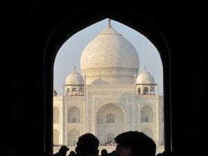 My first glimpse of the Taj Mahal.