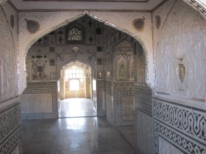 Inside the beautiful Amber Fort.