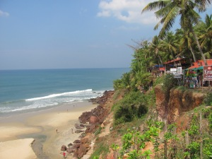 The beach at Varkala in the state of Kerala.