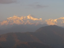 Mt. Sarangkot at sunset in the Annapurna Mountains