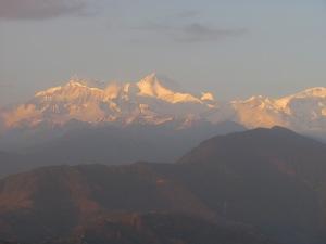 Mt. Sarangkot at sunset in the Annapurna Mountains