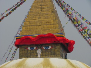 Under the watchful eyes of Buddha in Kathmandu, Nepal