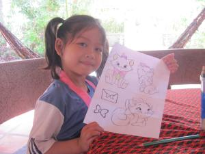 Siphon's niece showing her colouring with such pride.