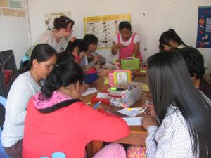 Making cards at the garment factory learning centre.