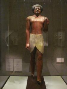 Wooden sculpture from the early Egyptian period.