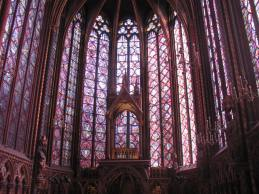 Stained glass windows of the upper chapel.
