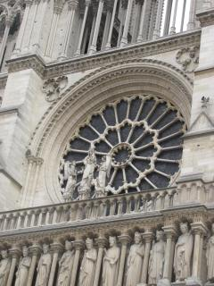Front view of Notre Dame and the rose window.