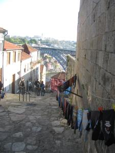 Narrow street leading to Porto riverside.
