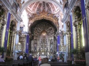 The interior of a typical Portuguese church.