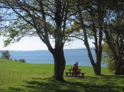 Visitors relaxing on the grounds of Fort Anne looking out over the Annapolis Basin.