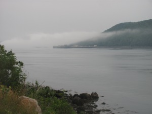 Fog creeping in over the water at Digby Gut in Victoria Beach.
