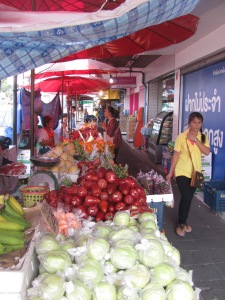 Vegetable and fruit street stall.