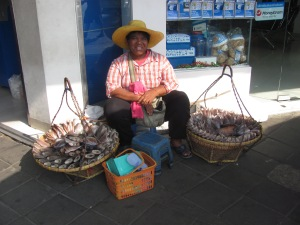 This lady sells her fish from baskets which she can take anywhere.