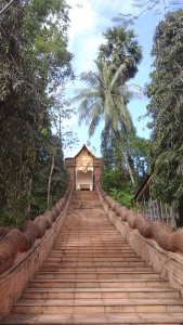 Stairway to the stupa at Wat Prah That Doi Cham Thong.