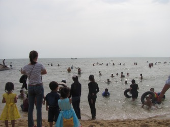 Cambodians celebrating Chinese New Year at Kep Beach.
