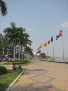 Sisowath Quay along the riverside.