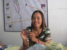 Kimleung showing one of her finished products- Battambang