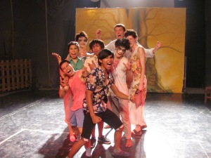 The troupe after their very energetic performance.