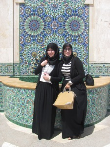 Young women at the Hassan II mosque in Casablanca, who asked me to take this photo, dressed in a fashionable but traditional style.