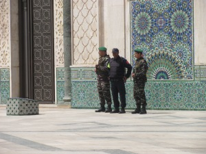 Standing guard at the Hassan II mosque.