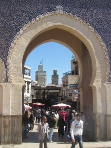 The elaborately tiled and horseshoe shaped Bab Bou Jeloud gate leading to the medina in Fez.