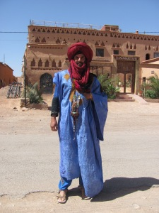 A man in the traditional dress of the Berber, the original natives of Morocco.