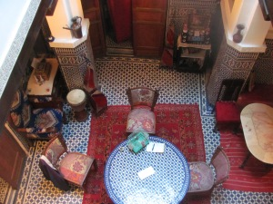 Looking down from the 3rd level of our riad in Fez to the central area where we ate our breakfast and chatted with our host and other guests.