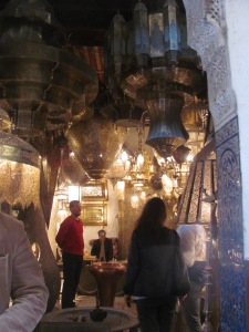 Shops in the crowded medina in Marrakesh.