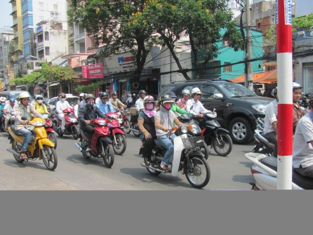 Typical traffic scene in Viet Nam