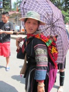 Hilltribe woman with baby in Sapa