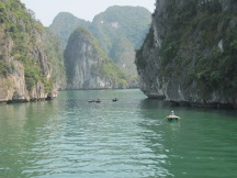 Exotic rock formations in the Halong Bay.