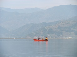 The tranquil Lake Phewa in Pokhara.