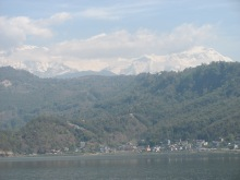 Pokhara with its mountains and lake.