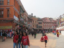 A street in Bodnath - spiritual centre for Buddhists.