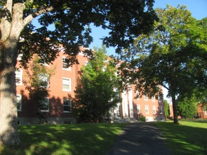 Stately Aiken House on the campus of UNB.