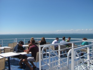 On the upper deck of the Fundy Rose.