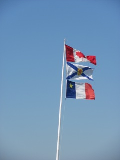 Three flags - Canada, Nova Scotia, Acadian