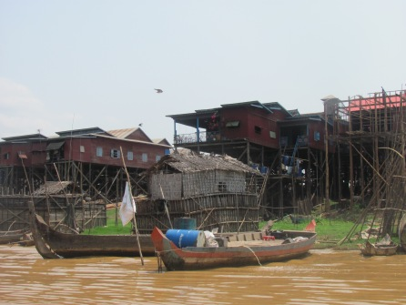 Houses along the Tonlee Sap - largest lake in Cambodia