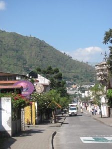 The street where Casa Real is located in Banos.