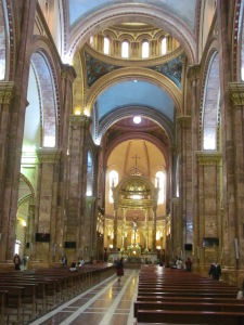 The interior of the Immaculate Conception church in Cuenca.