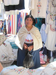A vendor selling loving cotton tableware.