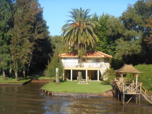 A home along the river as seen from our catamarand.