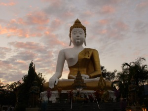 A Big Buddha at sunset.