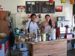 Ray and Koong owners of the small cafe One Peaberry.