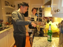 Gee and Melissa pouring the bubbly.