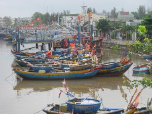 Boats used to catch fish used to produce fish sauce.