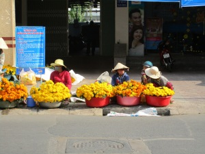 Selling flowers for Tet, Viet Nam's New Year.