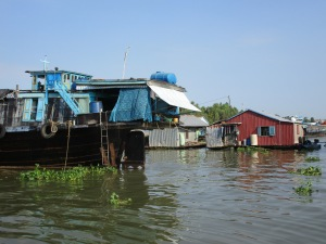 Fish farms built on stilts.