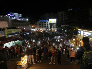 Looking down on the market at night.